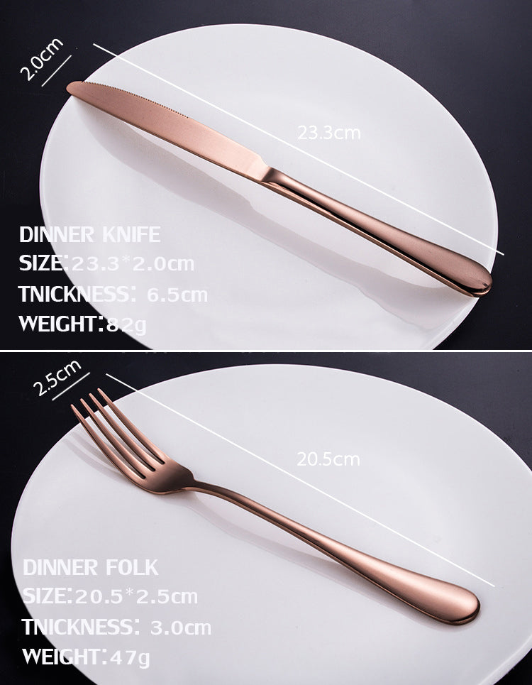Cutlery Set KCASA™ Rose Gold Stainless Steel, 24 Piece