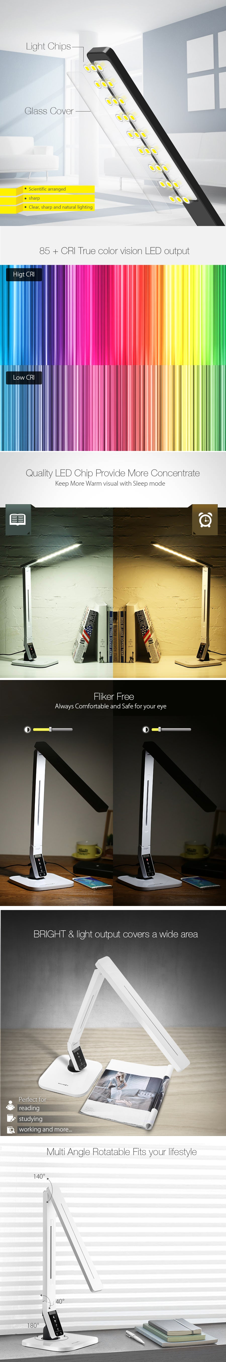 BlitzWolf® BW-LT1S Eye Protection Smart LED Dimmable Desk Lamp With 1.5A USB Charger