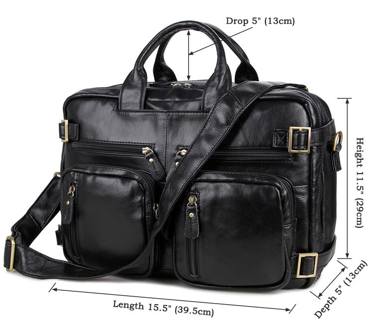 Versatile Handmade Leather Briefcase Backpack Messenger Bag