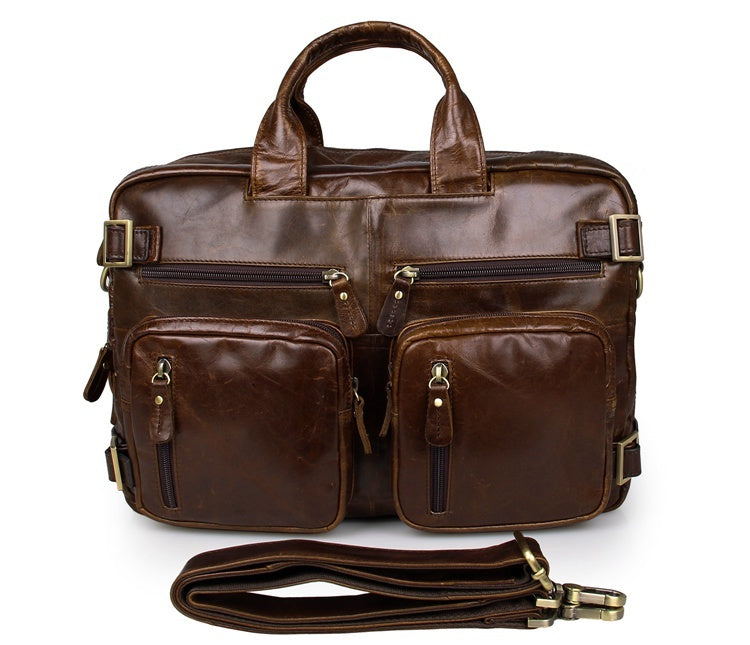 Versatile Handmade Brown Leather Briefcase Backpack Messenger Bag
