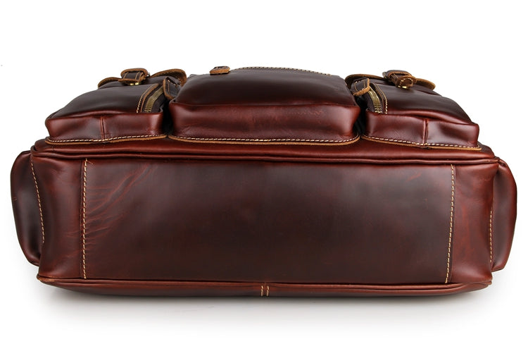 Handmade Vintage Leather Business Travel Bag Messenger Bag Duffle Bag - Chestnut