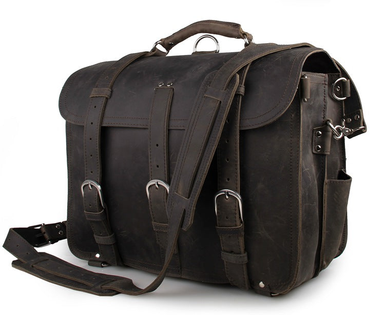 Handmade Full Grain Leather Heavy Duty Messenger Bag & Backpack - Slate Grey