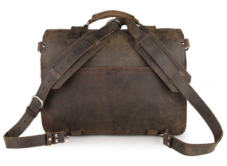 Handmade Full Grain Leather Heavy Duty Messenger Bag & Backpack - Vintage Brown