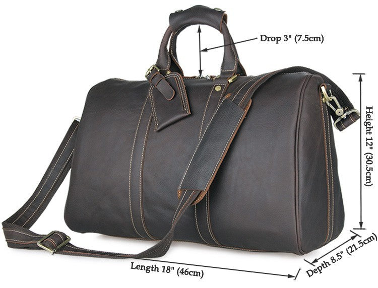 Boston Leather Travel Duffle Bag