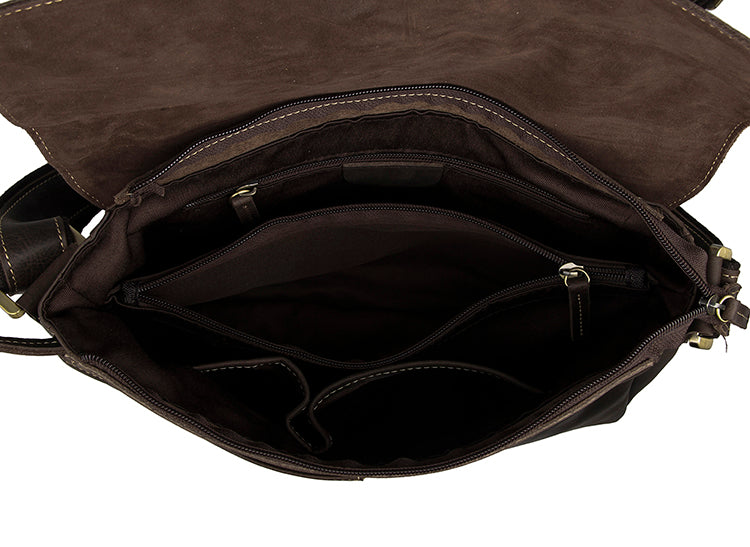 Shadow Leather Messenger Bag - Dark Brown