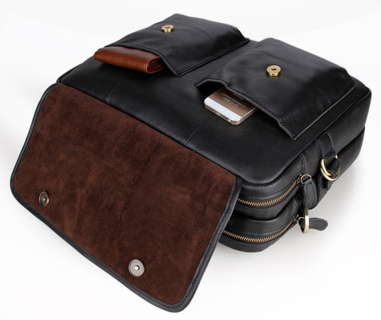 'Davos' Handmade Leather Laptop Messenger Briefcase - Black