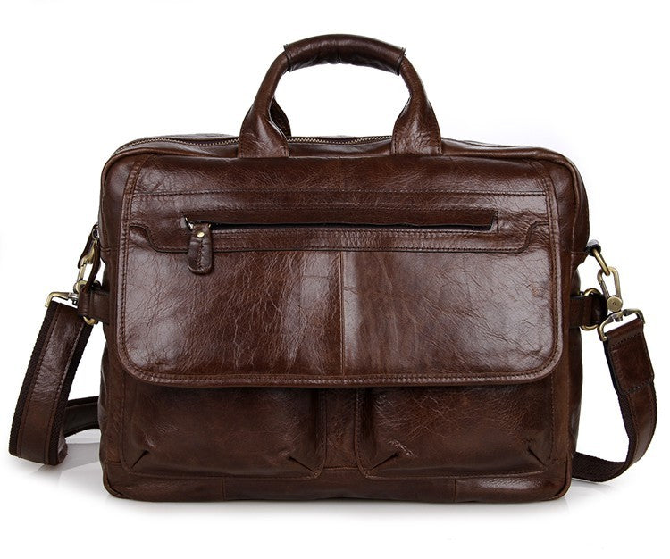 Davos Handmade Leather Laptop Messenger Briefcase - Dark Brown