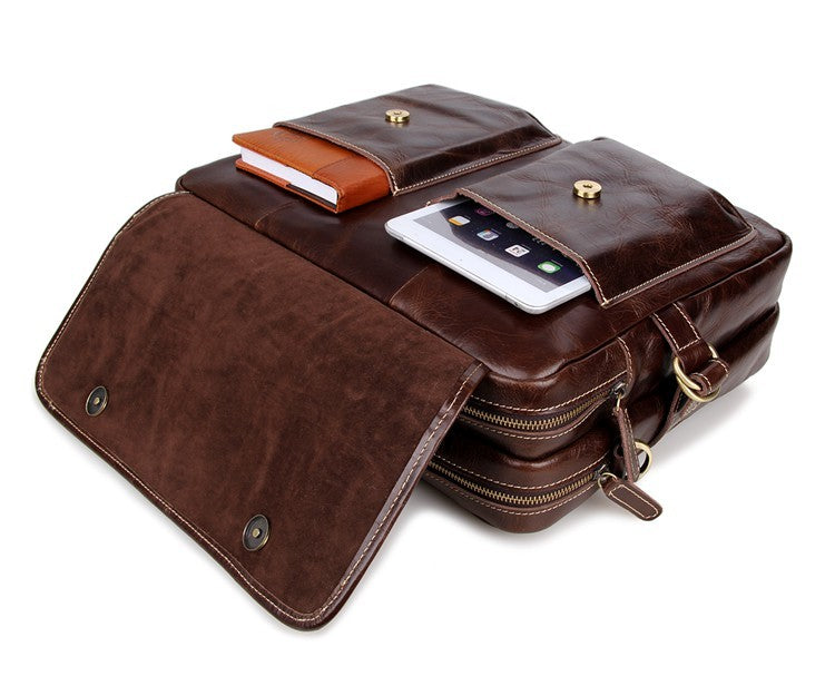 Davos Handmade Leather Laptop Messenger Briefcase - Brown