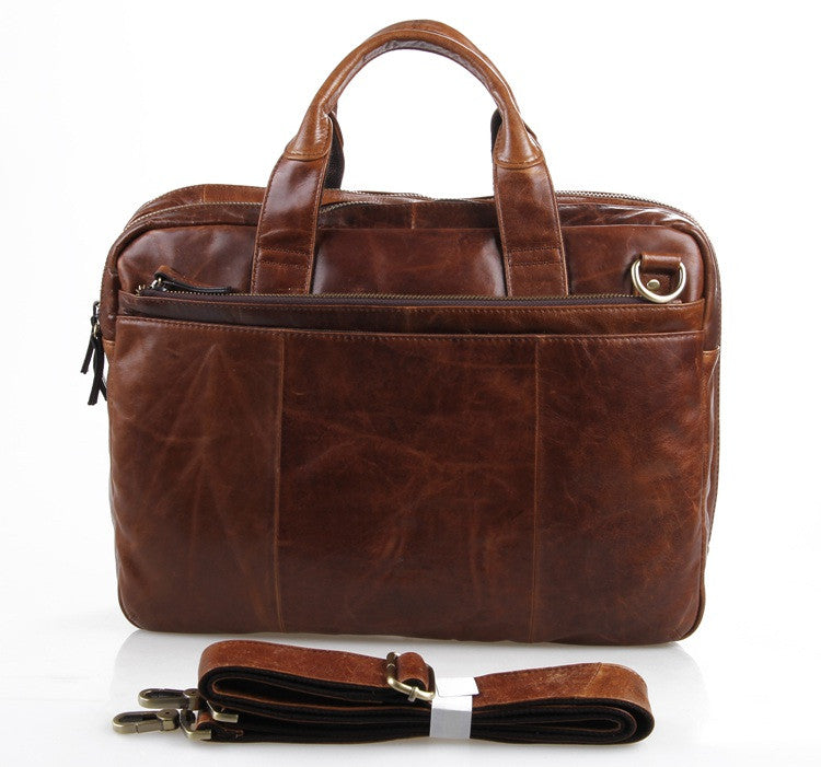 """Portobello"" Saddle Leather Briefcase & Messenger Bag - Brown"