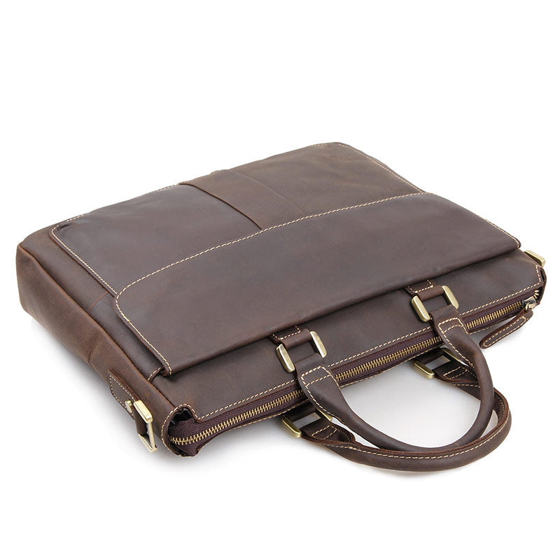 Handmade Leather Laptop Briefcase with Adjustable Strap