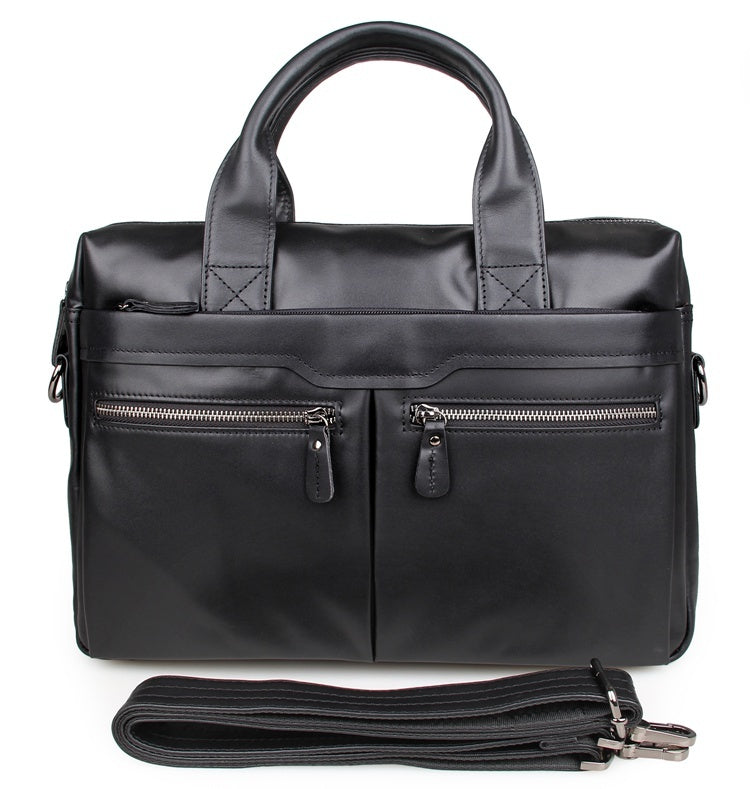 """Bobby"" Leather Satchel Handbag Laptop Bag Briefcase - Black"