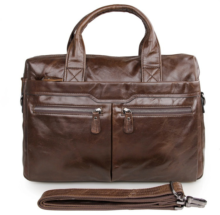 """Bobby"" Leather Satchel Handbag Laptop Bag Briefcase - Brown"