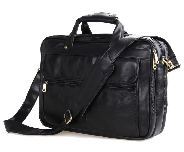 Voyager Triple Gusset Leather Briefcase - Black Matte Finish