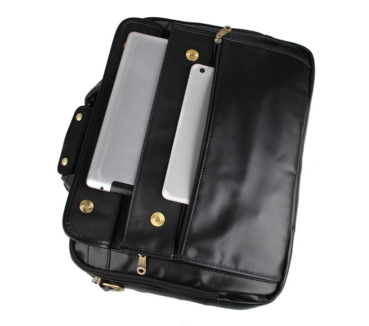 Voyager Triple Gusset Leather Briefcase - Black