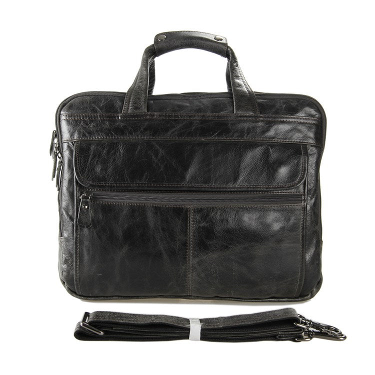 Voyager Triple Gusset Leather Briefcase - Dark Grey