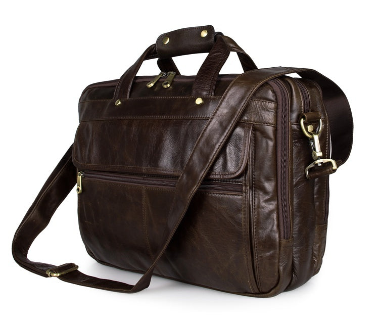 Voyager Triple Gusset Leather Briefcase - Brown