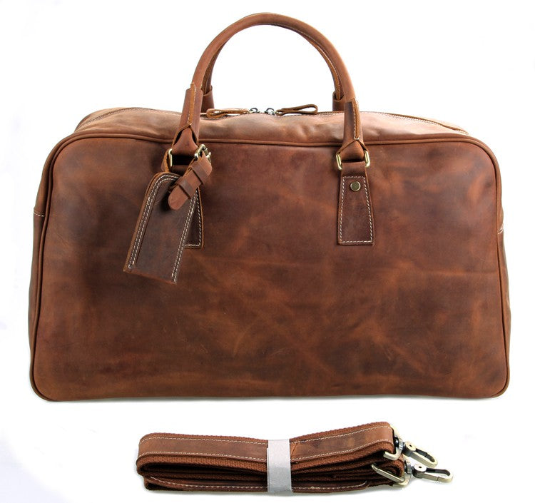 Andy Saddle Leather Holdall Travel Bag - Fawn