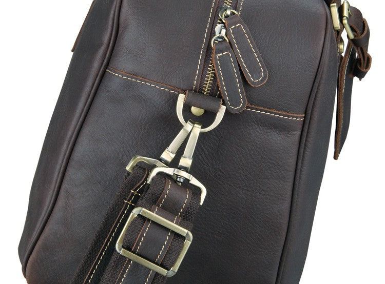 Andy Leather Holdall Travel Bag - Dark Brown