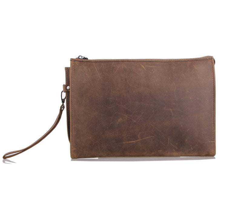 Anson Brown Leather Large Pocket Bag