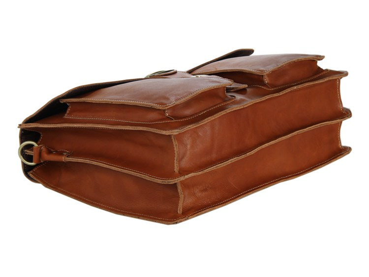 Italian Leather Men's Briefcase - Brown