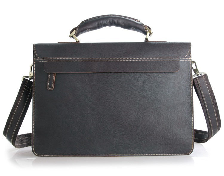 Italian Leather Men's Briefcase - Dark Brown