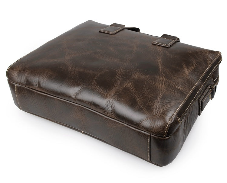 Banbury Genuine Leather Briefcase - Brown