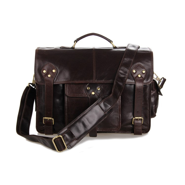 Old School Full Grain Leather Satchel Bag