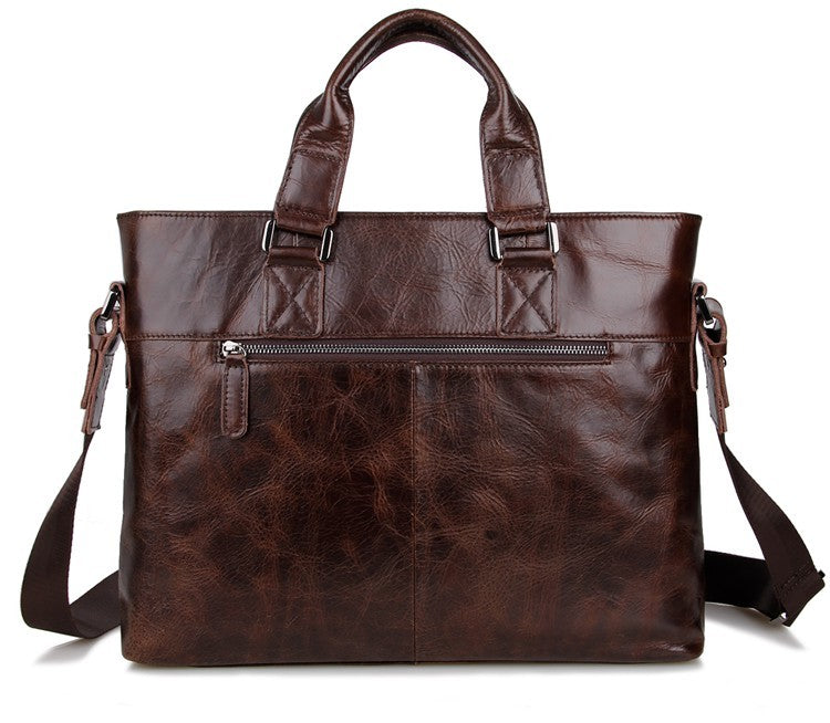 Leather Men's Briefcase, Dark Brown Leather Messenger Bag