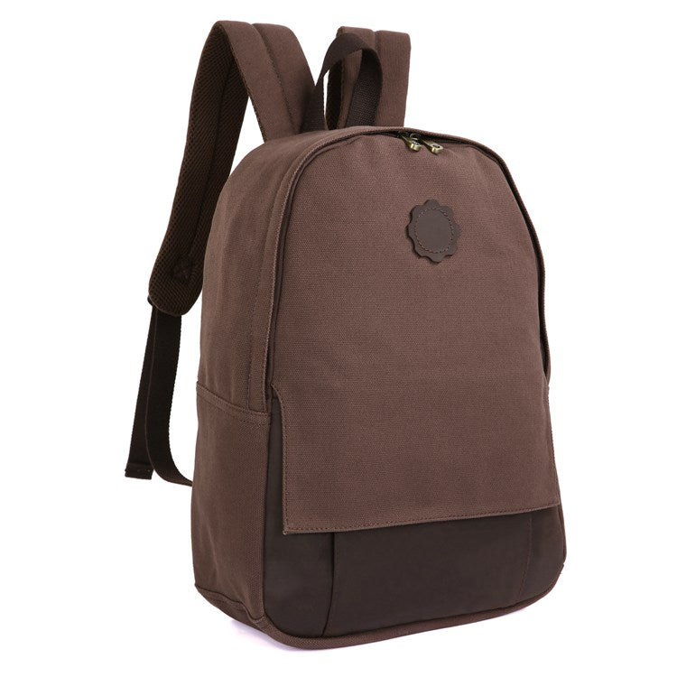 Universal London Canvas and Leather Backpack - Dark Brown