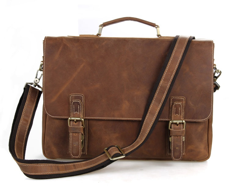 Vintage Leather Briefcase Messenger Bag - Brown