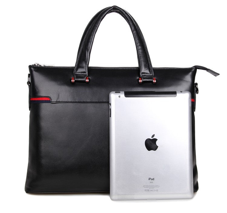 'President' Black Leather Business Briefcase