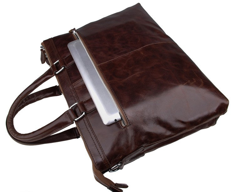 'Oliver' Leather Business Bag Briefcase Document Case