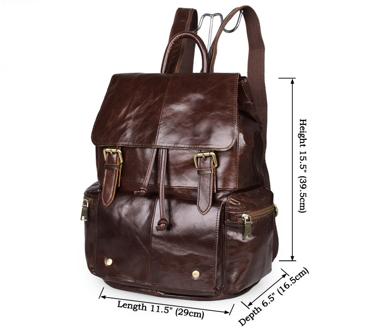 'Mulier' Casual Soft Leather Women Backpack - Dark Brown