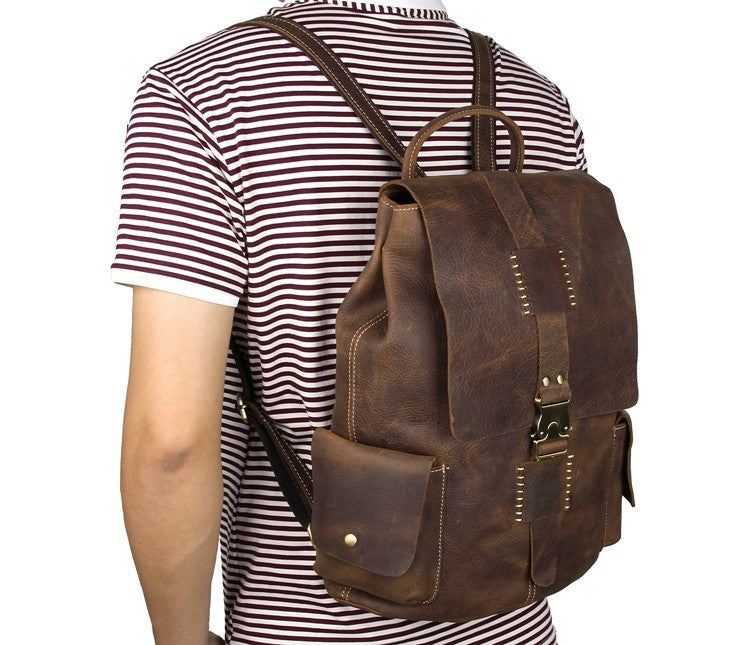 American West Vintage Handmade Leather Backpack