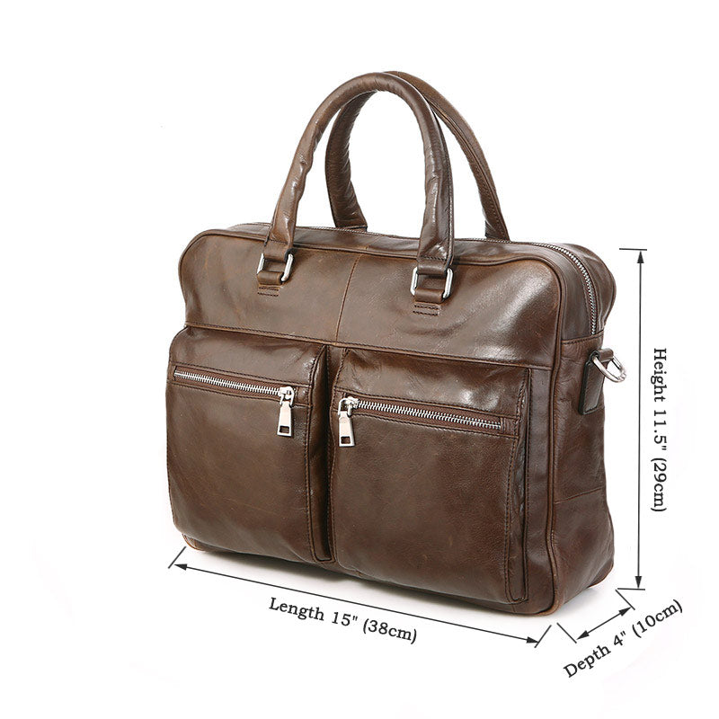 'Mayfair' Leather Business Bag - Brown