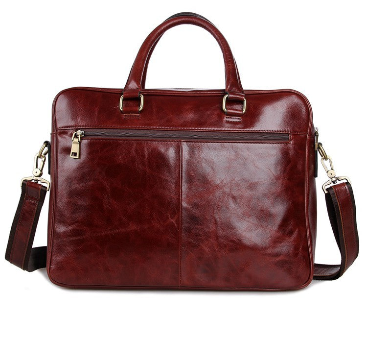 'Mayfair' Leather Business Bag - Russet