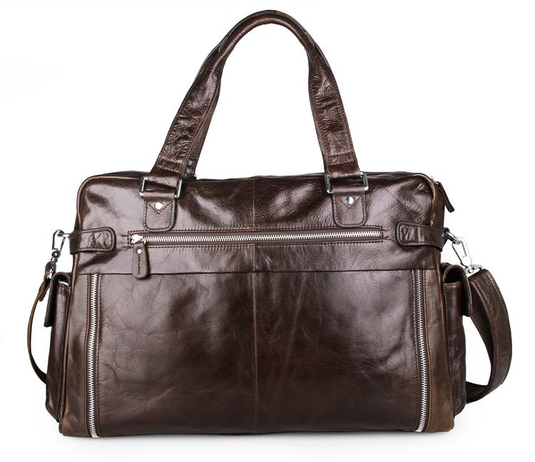 Leather Business Briefcase Messenger Laptop Bag - Dark Brown