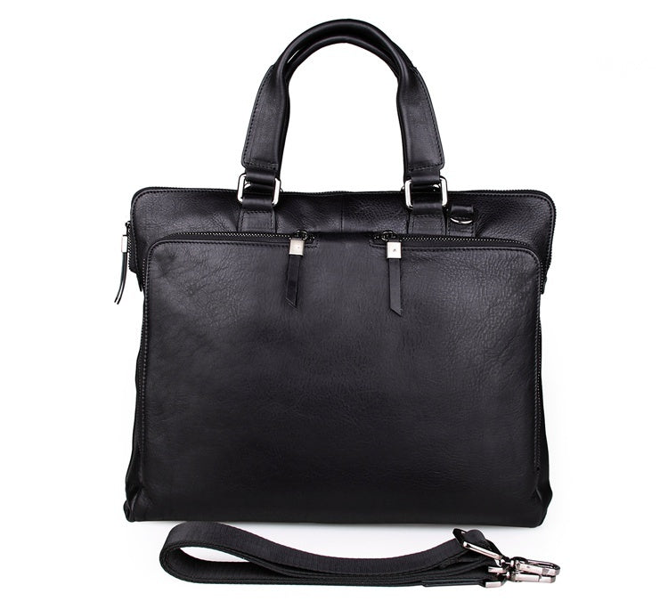 'Fitzrovia' Black Leather Business Bag