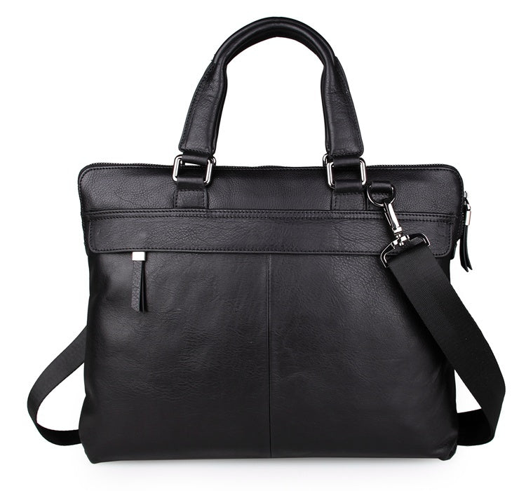 """Fitzrovia"" Black Leather Business Bag"