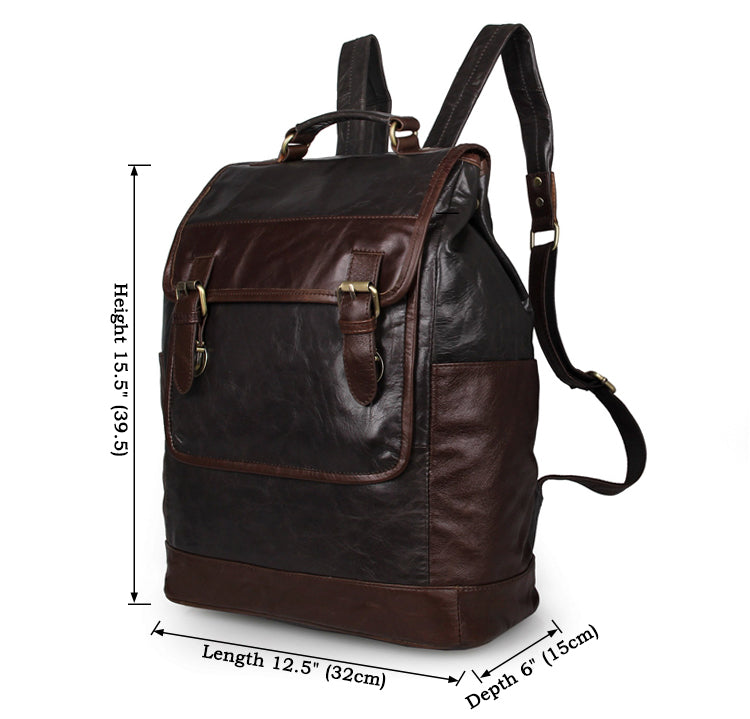 'Amazon' Dark Grey and Brown Leather Backpack