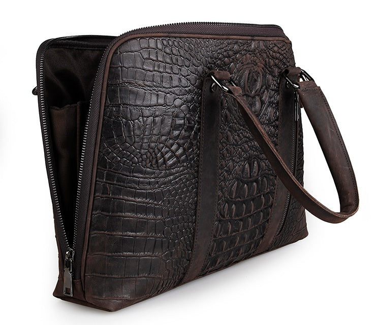 Taranto Zip Dark Brown Deep Embossed Croc Print