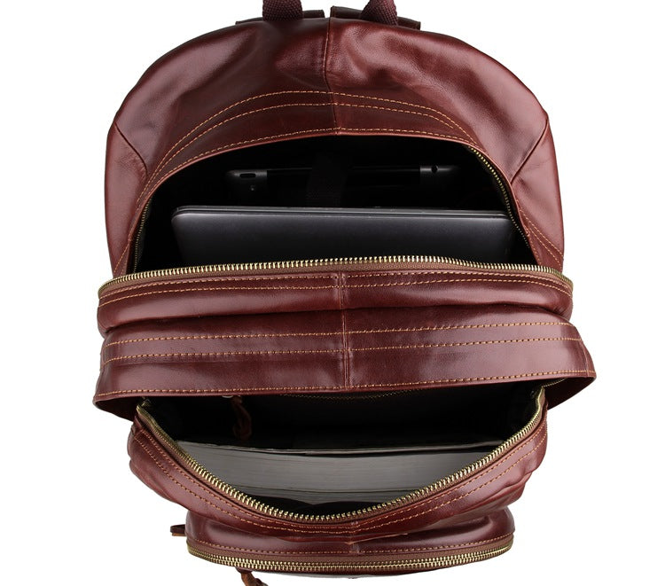 Classic Style Brown Leather Backpack