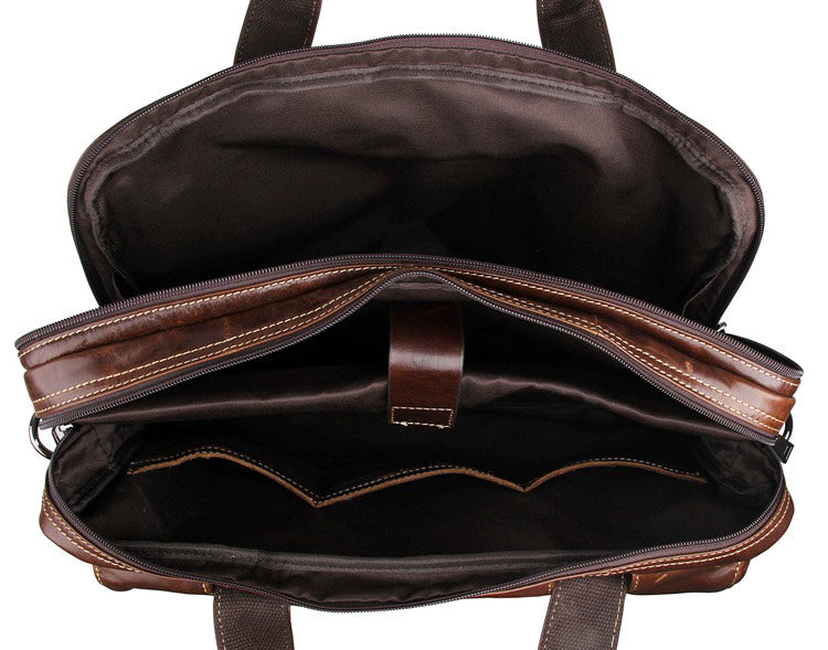 Top Grain Leather Laptop Bag Business Briefcase - Dark Brown