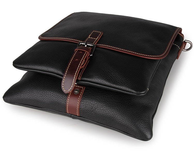Black Full Grain Leather iPad Messenger Bag