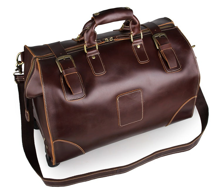 Voyager Leather Travel Bag With Wheels