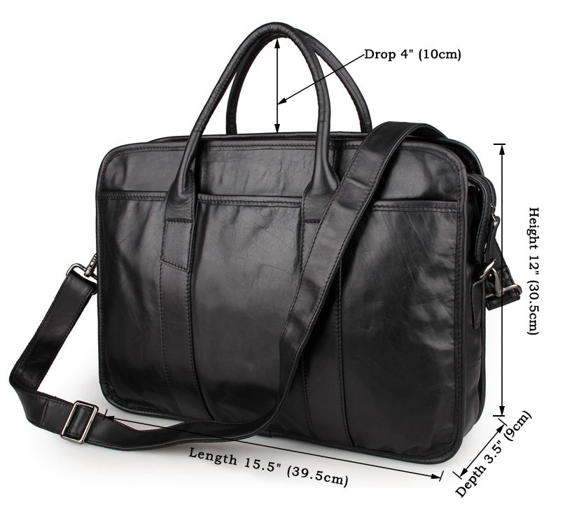 Genuine Leather Men's Briefcase Messenger Laptop Bag - Black