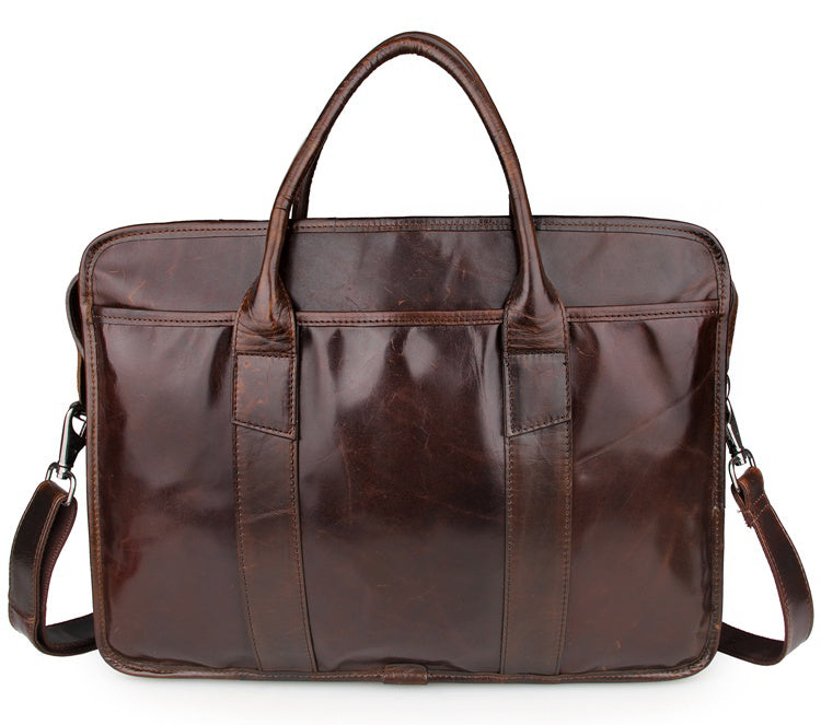 Genuine Leather Men's Briefcase Messenger Laptop Bag - Brown