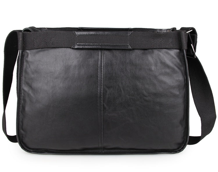 Artisan Leather Messenger Bag - Black