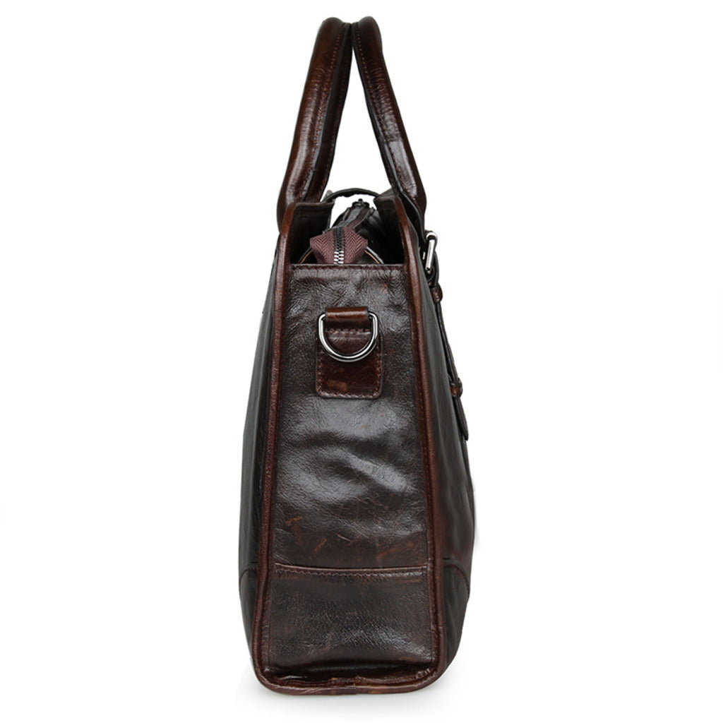 Amalfi Italian Leather Briefcase for Women - Dark Brown