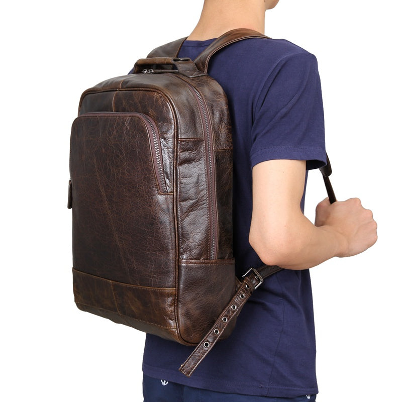 Leather Laptop Backpack - Dark Brown